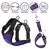 Lukovee Dog Safety Vest Harness with Seatbelt, Dog Car Harness Seat Belt Adjustable