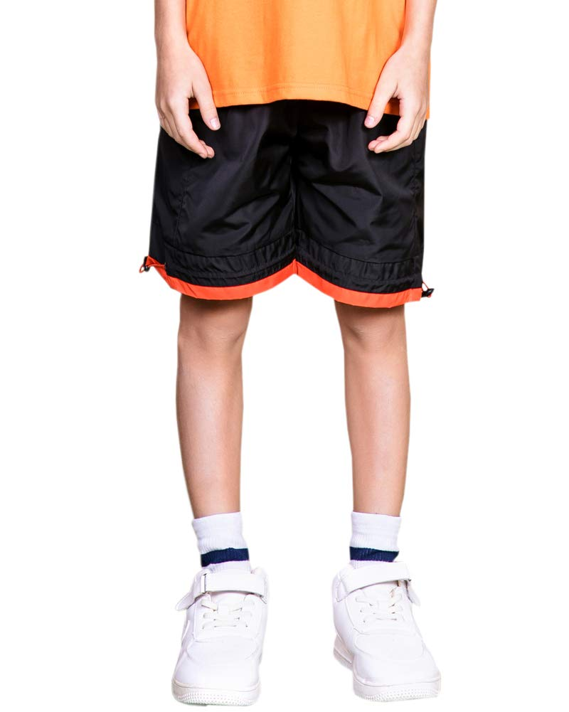 Welity Boys' Girls' Athletic Workout Gym Running Shorts with Pockets, Beach Board Short for Youth Boys & Girls, Black, 13-14 Years=Tag 170 by Welity (Image #2)