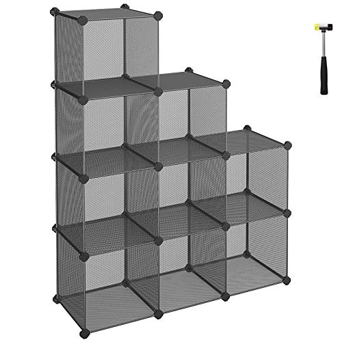- SONGMICS 9-Cube Metal Mesh Storage Cube, Book Shelf, Modular Bookcase, DIY Closet Cabinet Organizer for Books, Plants, Toys, Shoes, Clothes 36.6 L x 12.2 W x 48.4 H Inches, Gray ULPL115G
