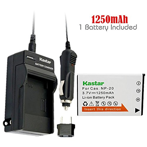 Kastar 1x Battery + Charger for Casio NP-20 NP-20DBA BC-11L & Casio Exilim EX-M20 EX-S100 EX-S500 EX-S600 EX-S770 EX-S880 EX-Z3 EX-Z4 EX-Z5 EX-Z6 EX-Z7 EX-Z8 EX-Z11 EX-Z60 EX-Z65 EX-Z70 EX-Z75 (Np 20 Digital Camera Battery)