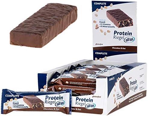 all in® COMPLETE Protein Riegel Chocolate & Oat 24x 30g - Eiweiss Protein Snack mit Schokolade und Haferflocken Mahlzeitenersatz Riegel | Fitness Food Food Replacement Fitness Snacks