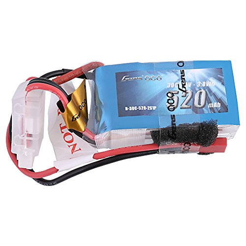 Gens ace 3S 520mAh 11.1V 30C LiPo Battery Pack with JST-SYP Plug for Small Foam Planes Wing Drones with 2S and 3S Motor 100 to 120 Size 200 250 Heli 800mm Warbirds Eflite Blade CP CP Pro Helicopter ()
