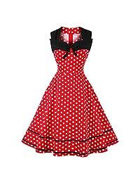 Women Patchwork Polka Dot Bowknot Skirt Vintage 1950s Party Midi Swing Dress