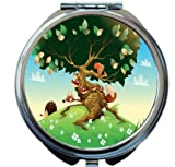 Rikki Knight Cartoon Landscape With Animals Design Round Compact Mirror
