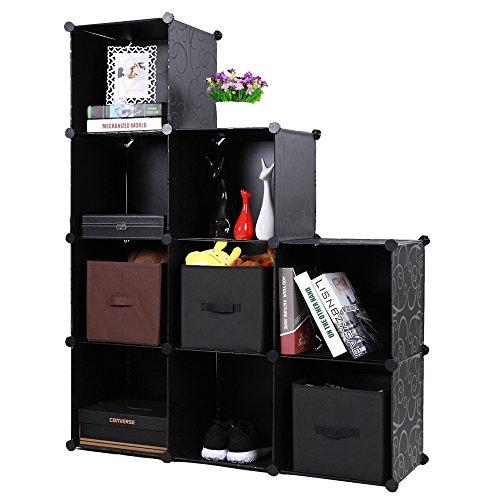 9-Cube Storage Organizer, DIY Modular Storage Cube 4-Tier Bookcase Shelf Cabinet (Modular Shelf)