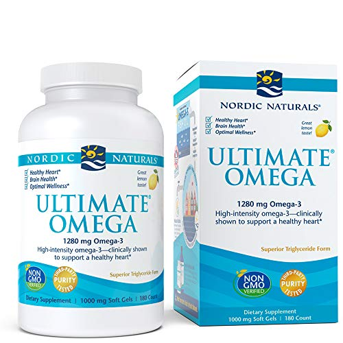 Nordic Naturals Ultimate Omega SoftGels - Concentrated Omega-3 Fish Oil Supplement With More DHA & EPA, Supports Heart Health, Brain Development and Overall Wellness, Burpless Lemon Flavor, 180 Count ()