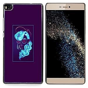 """Qstar Arte & diseño plástico duro Fundas Cover Cubre Hard Case Cover para Huawei Ascend P8 (Not for P8 Lite) (Neón azul Mujer"""")"""