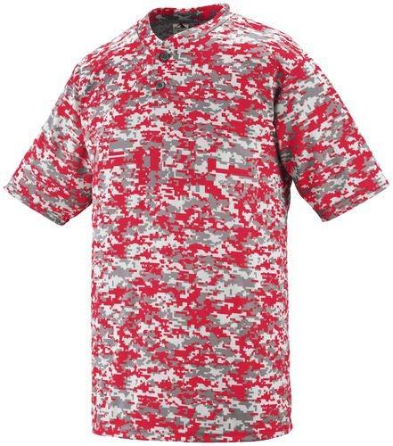 (Augusta Sportswear MEN'S DIGI CAMO WICKING TWO-BUTTON JERSEY XL Red Digi)