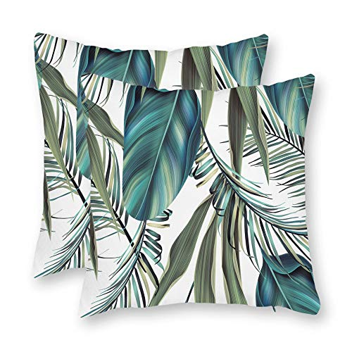 (DKISEE Set of 2 Abstract Blue and Green Tropical Palm Tree Leaves Square Throw Pillow Cover Canvas Pillow Case Sofa Couch Chair Cushion Cover or Home Decor)