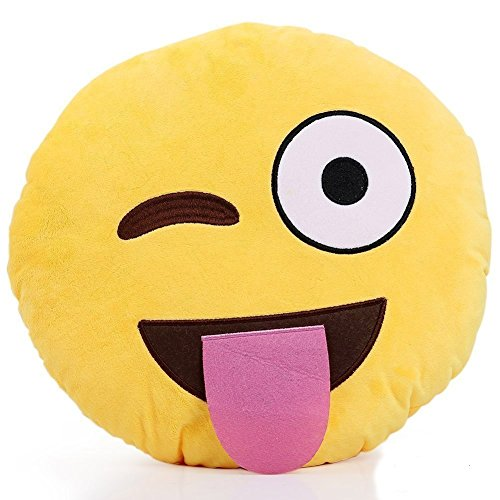 Emoji Pillows Emoticon Plush Yellow Round Soft Toy (Crazy Tongue Out Wink)]()