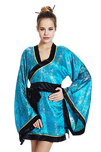 [Adult Women Sexy Geisha Halloween Costume Japanese Kimono Dress Up & Role Play (Standard)] (Halloween Costumes For Asian Women)