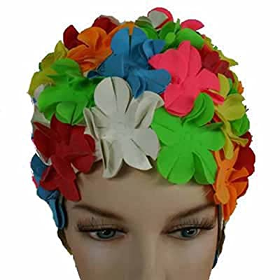 Floral Petal Vintage Style Latex Swim Bathing Cap (Available in 3 colors)