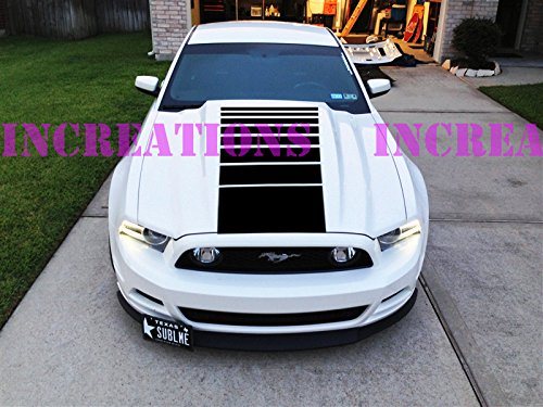 (Ford Mustang Racing Hood Fading Stripes Decal Shelby Cobra Convertible Sticker (Silver) )