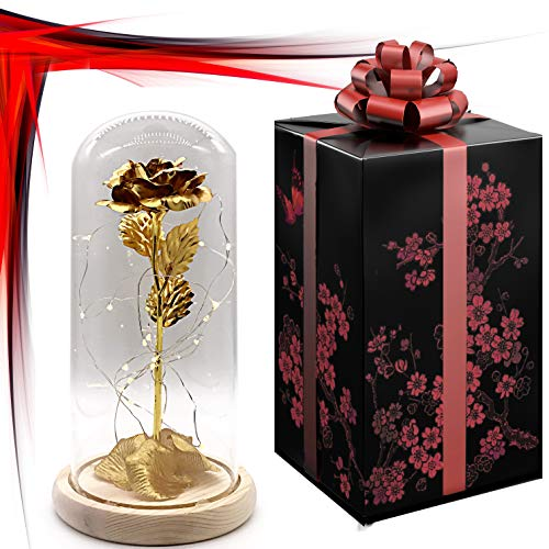 (24K Gold Dipped Artificial Rose Preserved in Glass Dome with LED Light and Elegant Gift Box, Best Gift for Valentine's Day, Mother's Day, Anniversary, Wedding, Birthday Gift, Treating Yourself)
