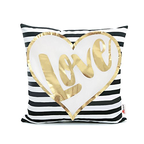 Gold Striped Pillowcase (Monkeysell Bronzing flannel Home Pillowcases Throw Pillow Cover Love Black Striped White Print Gold LOVE Stripes Pattern Pillow Case)