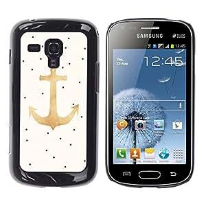 TopCaseStore / la caja del caucho duro de la cubierta de protección de la piel - Polka Dot Gold Beige Sailor Seaman - Samsung Galaxy S Duos S7562