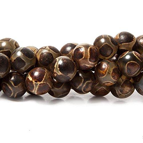 8mm Tibetan Honeycomb Brown Agate plain round Beads 15 inch 48 ()