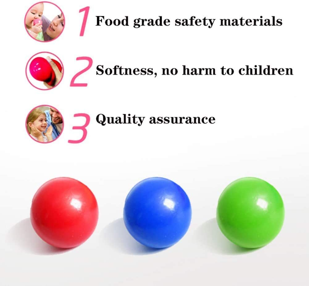 4 Pcs Luminescent Stress Relief Balls Sticky Ball Stick to The Wall and Slowly Fall Off Squishy Glow Stress Relief Toys for Kids and Adults Tear-Resistant OCD Anxiety Fun Toy for ADHD Non-Toxic
