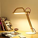 DMMSS Wooden Desk Office Lamp Bedroom Bedside Learning Modern Creative Eye Dorm Energy-Saving Led Desk Lamp (Protect Children'S Eyes) 360 Degrees Can Be Freely Rotated Fold