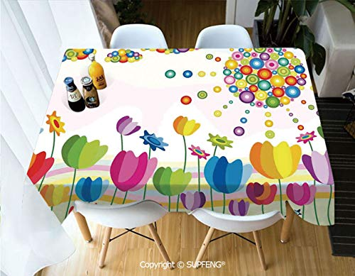 Rectangular tablecloth Abstract Illustration of Flowers Sun and Clouds Summer Park Sunny Day Joy Decorative (60 X 120 inch)Great for Buffet Table, Parties, Holiday Dinner, Wedding & More.Desktop decor