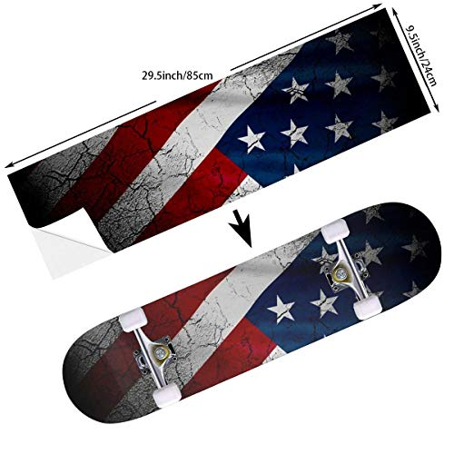 Flag Skateboard Deck - STREET FFX Fashion Funny Skateboard Cruiser Deck and Balance Board Stickers Decals Grip Tape - 9.5 x 33.5 Inches - American USA Flag Crack