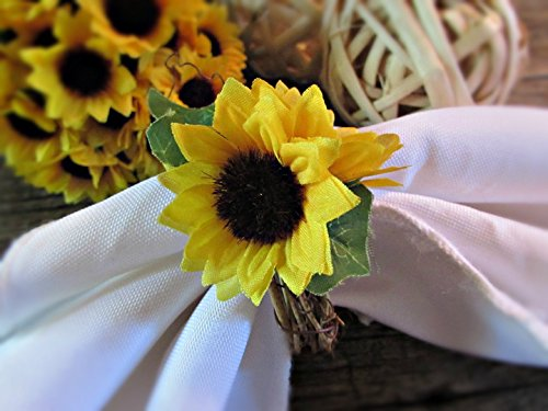 Sunflower Napkin Ring Holders- Kitchen Decor- Wedding Party Decoration (Set of 4, 6, 8, 10,12)