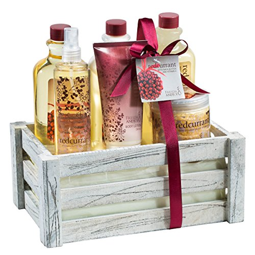 """Antique vintage distress white wood crate perfumed """"Redcurrant"""" bath & body gift set!"""