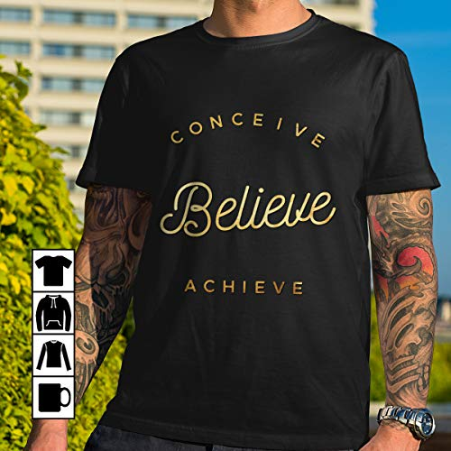 - Gold conceive believe achieve arched black shadow T Shirt Long Sleeve Sweatshirt Hoodie Youth