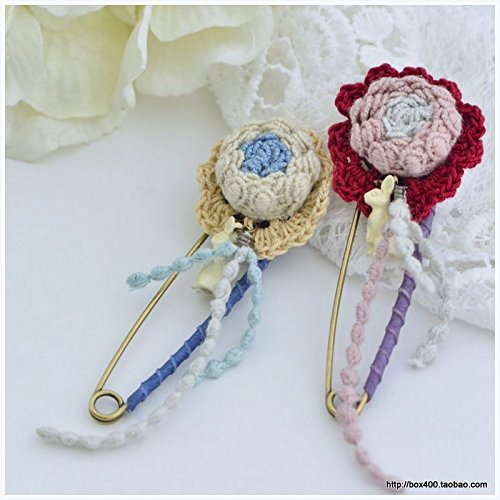 Korea imports Sen Department mixed colors wool crochet lace flowers bunny necklace pendant brooch pin pin 328