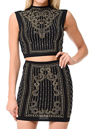 L I V D Women's Embellished Two Piece Dress (S, Black - Shops Las Fashion Show Vegas At