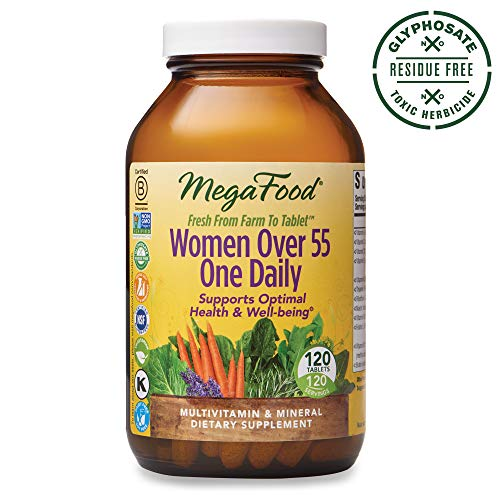 MegaFood, Women Over 55 One Daily, Supports Optimal Health and Wellbeing, Multivitamin and Mineral Dietary Supplement, Vegetarian, 120 tablets (120 servings) (The Best Multivitamin For Women Over 50)