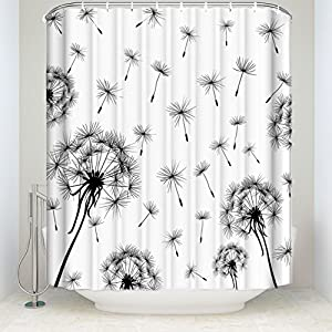 Dandelion Shower Curtain Flying In The Wind Flowers Prints Top Quality Home Accent And Bathroom Decorations Polyester Fabric 6672 Inches