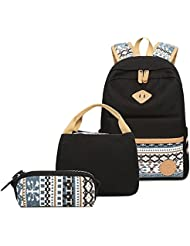Tibes Casual Canvas School Travel Backpack+Shoulder Bag+Purse 3pcs set Book Bag for Teen Girls