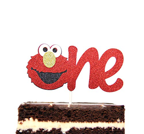 Elmo Inspired One Year Birthday Cake Topper Decoration Sesame Street -