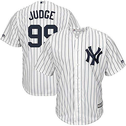 Outerstuff Aaron Judge New York Yankees MLB Majestic Youth White Pinstripe Home Cool Base Replica Jersey (Size Large 14-16)