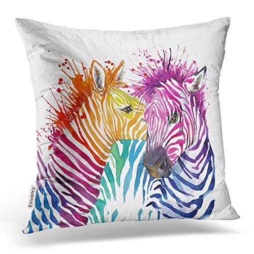 Emvency Throw Pillow Covers Funny Zebra Graphics Rainbow Zebra Splash Watercolor D Watercol Decor Pillowcases Polyester 18 X 18 Inch Square Hidden Zipper Home Cushion Decorative -