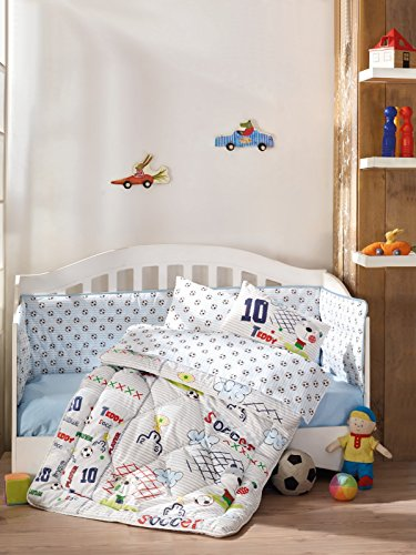 DecoMood Teddy Bear Soccer/Football - 100% Cotton Nursery Crib Set for Boys, 6 Pieces Baby Comforter/Quilt Set with Crib Bumper, Comforter, Crib Sheet, Pillowcases