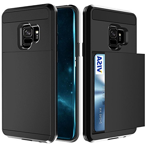 Samsung Galaxy S9 Case, Crosspace Galaxy S9 Wallet Case Card Holder Defender Bumper Soft Rubber Hard PC Back Hybrid Shockproof Slide Cover Flexible Protective with Card Slots for Galaxy S9 - Black