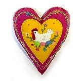 "8"" Felt Applique Hen with Eggs Heart Shaped Ornament"