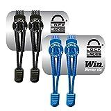 LOCK LACES (Elastic No Tie Shoe Laces) (Pack of 2) (Black-Blue)