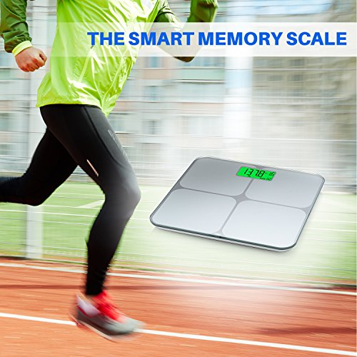 Smart Weigh Digital Body Weight Bathroom Scale with Weight Tracking and Step-On Technology, 440 Pounds, Recognizes and Stores 8 Users [2017 Upgraded Version] by Smart Weigh (Image #4)