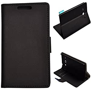 Einzige Slim Fit PU Leather Case Cover for Huawei Ascend Y530 with Free Universal Screen-stylus (Cass Black/Button)