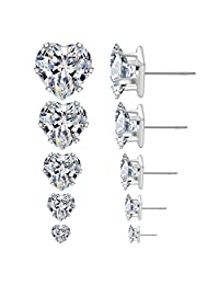 5/Pairs Square Round Heart Post Stud Earrings Crystal Unisex Style