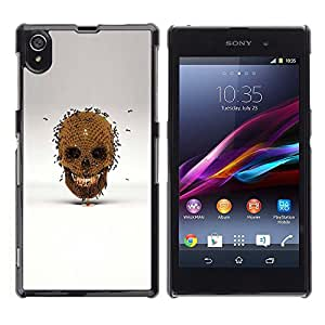 LECELL--Funda protectora / Cubierta / Piel For Sony Xperia Z1 L39 C6902 C6903 C6906 C6916 C6943 -- Honey Bee Gold Skull Bronze Grey --