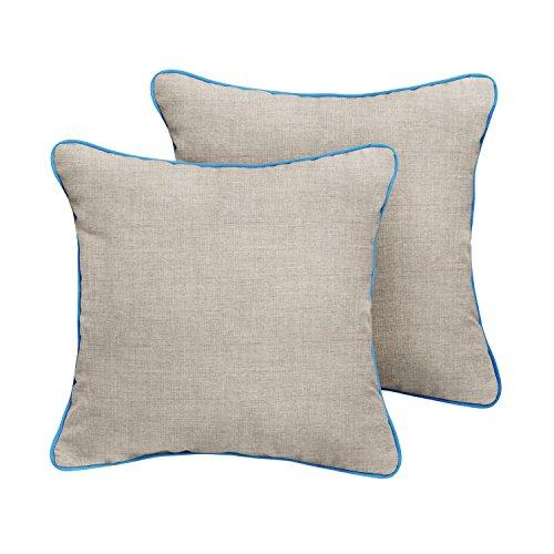 ella Indoor/ Outdoor Corded Pillows, Cast Silver and Canvas Capri, Set of 2 ()