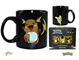pikachu cup - JUST FUNKY Pokemon OFFICIAL Pichu TO Raichu Evolution HEAT CHANGING Ceramic Coffee Mug, 16oz Black