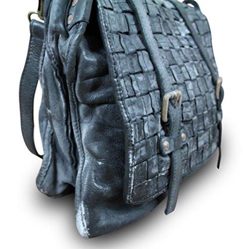 Made in italy sac bandoulière messenger bag sacoche crossbody vintage en cuir tressé noir