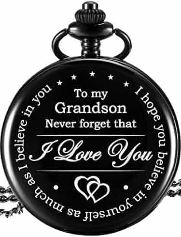 Hicarer Memory Gift to My Grandson Pocket Watch, I Love You to Grandson Gift from Grandpa Grandma (Black)