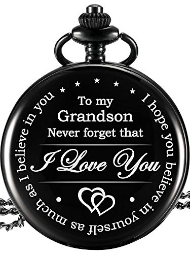 Hicarer Memory Gift to My Grandson Pocket Watch, I Love You to Grandson Gift from Grandpa Grandma (Grandson Gifts, Black Dial)