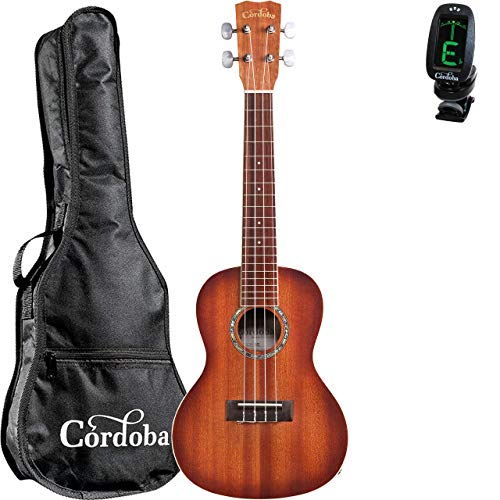 Cordoba 15CM-E Sunburst Acoustic-Electric Concert Ukulele with Cordoba Concert Ukulele Gig Bag and Cordoba Clip-on Tuner